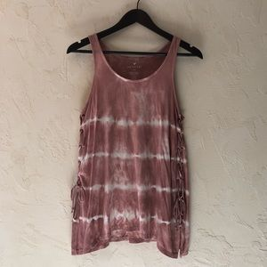 AEO Soft & Sexy Pink Tie Dye Ribbed Tank Top S